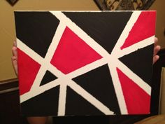 DIY painted canvas with masking tape for college dorm room, red black and white