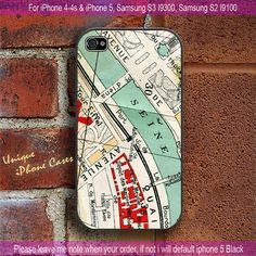 Vintage Paris Map - iPhone 4 / iPhone 4S / iPhone 5 / Samsung S2 / Samsung S3 / Samsung S4 Case Cover