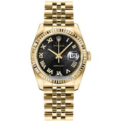 Rolex Datejust 36mm Yellow Gold 116238 Jubilee Black Roman Jubilee... ($23,821) ❤ liked on Polyvore featuring jewelry, watches, accessories, rolex jewelry, crown jewelry, gold watches, rolex watches and yellow gold jewelry