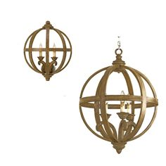 Wooden Orb Chandelier and Sconces