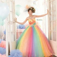 Anyas rainbow wedding dress offbeat bride rainbows and wedding dress tulle rainbow dress junglespirit Gallery