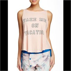 "NWT Wildfox Take Me On Vacation Tank - Crew neck - Sleeveless - Front print detail - Approx. 23"" length - Made in USA Fiber Content: 100% cotton Machine wash, no trades. Generous discount with bundle. Offers welcome. Wildfox Tops Tank Tops"