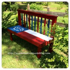Headboard bench, finished for Memorial Day ❤️❤️