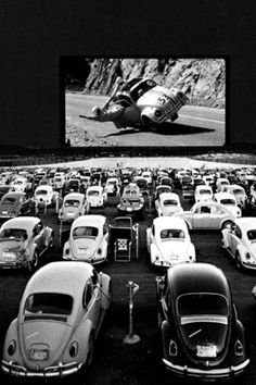 artist unknown... the Lovebug they are watching -  Herbie! ♥ Movie released March, 1969.