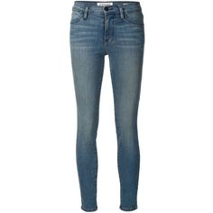FRAME Denim Le High Skinny Jeans ($220) ❤ liked on Polyvore featuring jeans, pants, bottoms, skinny jeans, denim, kirna zabete, faded blue skinny jeans, torn jeans, blue ripped jeans and distressed jeans