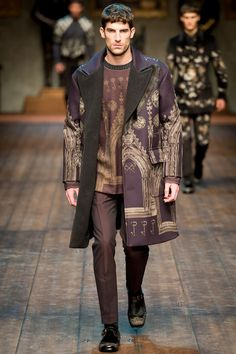 Dolce & Gabbana | Fall 2014 Menswear Collection | Style.com ^~^Purple shade of medieval town prints!