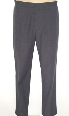 Dockers SIGNATURE Pants 34 x 30 CLASSIC FIT Flat Front Dk GRAY PLAID New $72 TAG #DOCKERS #KhakisChinos