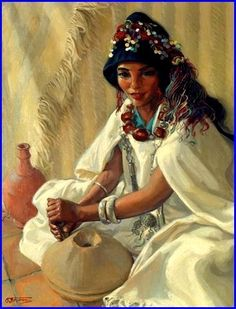 View Jeune marocaine aux poteries By Odette Bruneau  oil on canvas  Access  more artwork lots and estimated   realized auction prices on MutualArt. 1d85dd4bc2d