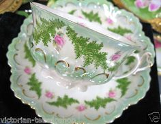 Vintage Austria Roses Heart Handle Tea Cup and Saucer