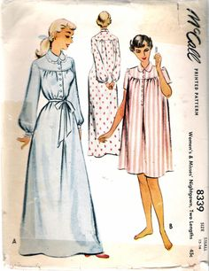 5b502e244d Vintage 1950 McCall 8339 Nightgown in Two Lengths Sewing Pattern Size Small  12 -14 Bust