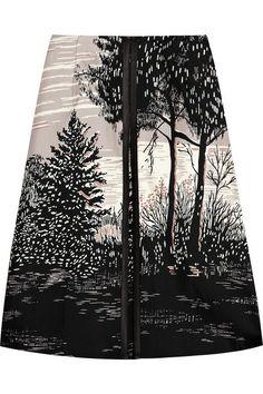 Tree scene printed skirt with high contrast digital print - nature-inspired fashion prints // Marni