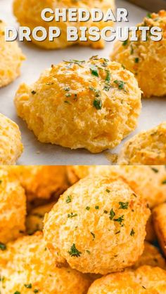These Cheddar Drop Biscuits are loaded with Cheddar and Colby Jack Cheese and topped with garlic butter. They're a savory, buttery, and cheesy biscuit recipe everyone will love! Biscuit Recipe Video, Drop Biscuit Recipes, Easy Cheddar Biscuit Recipe, Cheddar Cheese Recipes, Savoury Biscuits, Garlic Cheddar Biscuits, Quiche, Easy Cheese, Cheesy Recipes