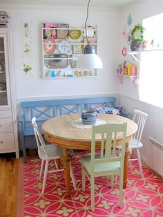 "bucketfulloffun: ""among-wildflowers: "" (via Stina Ballerina) "" I hope our future home has a little breakfast nook like this! Pastel Kitchen Decor, Round Chair, Small Dining, Small Round Kitchen Table, Round Dining, Cheap Home Decor, Home Kitchens, Home Remodeling, Dining Table"