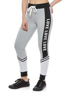 Color Block Love Graphic Sweatpants - 1061051062463 Grey Sports Leggings, Leggings Are Not Pants, Warm Pants, Address Numbers, Fitness Gear, Sport Wear, Suits You, Short Girls, Workout Gear