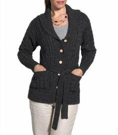 Amazon.com: Wool Overs Womens Aran Belted Wool Cardigan: Clothing