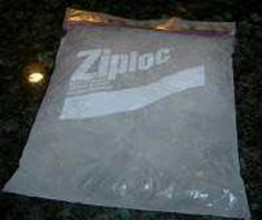 1 part rubbing alchohol 3 parts water...doesn't freeze...ice bag.