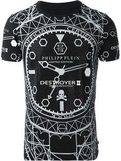 Philipp Plein 'Destroyer' T-shirt - that should be mine! Fashion Wear, Mens Fashion, Graphic Tee Style, Philipp Plein T Shirt, Mens Polo T Shirts, Custom Made T Shirts, Casual Wear For Men, Vogue, Branded Shirts