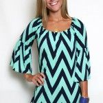 Chevron top in mint and navy