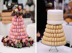 macaron cake wedding Beautiful macaron towers with autumnal flowers and a cake top Cool Wedding Cakes, Beautiful Wedding Cakes, Gorgeous Cakes, Wedding Cake Toppers, Macaron Tower, Macaron Cake, Macarons, Farm Wedding, Rustic Wedding