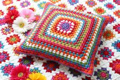 According to Matt...: Granny Square Button Cushion! The other side of the button pillow.