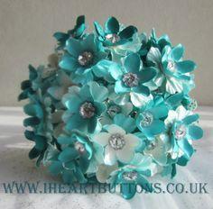 Wedding Bridal Flower & Button Bouquet with Buttonhole Aqua Turquoise. £115.00, via Etsy.