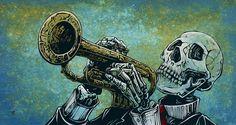 Skeleton Trumpet Player Painting by David Lozeau