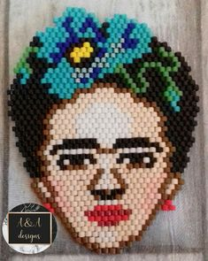 Miyuki delica brick stitch Frida Kahlo work Frida Kahlo Work, Brick Stitch, Beadwork, Crochet Hats, Beads, Character, Design, Key Rings, Earrings