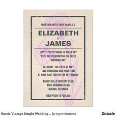 Rustic Vintage Simple Wedding Invitations