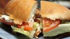 Rachel Ray's Crispy Chicken Parm BLT Hero Sandwiches.