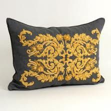 Grey & yellow pillow