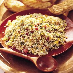 This light side dish of bulghur wheat and fresh corn is flavored with tomatoes, mint, and parsley; it& easy to prepare ahead and perfect for a picnic. Sirloin Steak Recipes, Gyro Meat, Tabbouleh Recipe, Barley Salad, Vegan Main Dishes, Mediterranean Dishes, Skinny Recipes, Healthy Cooking, Food Videos