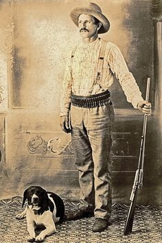 In this circa 1900-1905 cabinet card, this plainly dressed sportsman models with his hunting dog and a cartridge belt full of ammunition for his standard-grade Winchester Model 1895 lever-action, repeating magazine rifle. A John Browning design, this model utilized a box magazine in lieu of the familiar tubular magazine beneath the barrel.  – Courtesy Dickinson Research Center, National Cowboy & Western Heritage Museum, 2004.230.02 –