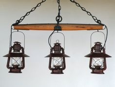 repurpose an old single tree | Lantern Single Tree Chandelier by BigRockLanterns on Etsy, $645.00