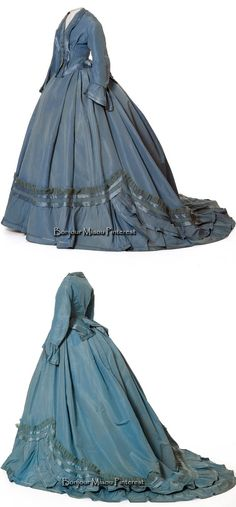 Robe à transformation, Soinard, ca. 1865-68. Blue silk and wool taffeta, satin, and crepe. Photo: Jean Tholance. Les Arts Décoratifs and Europeana Fashion