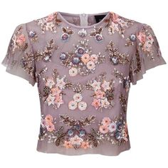 Needle & Thread Ditsy Scatter Flower Top ($200) ❤ liked on Polyvore featuring tops, shirts, blusas, crop tops, t-shirts, purple shirt, cami crop top, purple sequin top, crop top and beaded evening tops