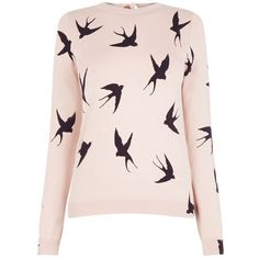Oasis Shadow Bird Knit, Pink ($48) ❤ liked on Polyvore featuring tops, sweaters, knit patterns sweater, bow sweaters, pink top, long sleeve knit sweater and print sweater