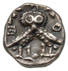 Diobolo - argento - Atene (410-300 a.C.) - A-Θ-E due civette di lato con una solo testa frontale - Münzkabinett Berlin