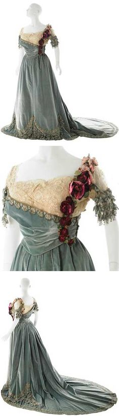 Ball gown, Worth, ca. 1905. Museum of the City of New York; odd gown--looks like the shoulder slipped and her chemise is showing. Was this 19th century risqué?