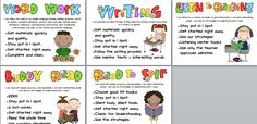 Word work, Writing, Listen to reading, Buddy read, Read to self