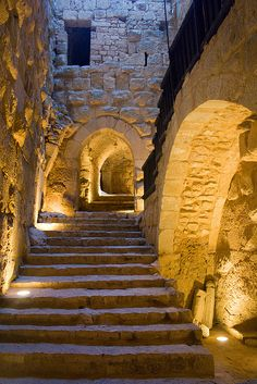 Mysterious steps lead up through Ajlun's Rahbad Castle.