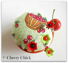 Cherry Pincushion,  Decorative Pins, Pin Topper  by DecorativeSewingPins