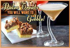 Paleo Girl's Kitchen: Pecan Pie Bars and Pumpkin Pie Martinis Paleo Menu, Paleo Recipes, Yummy Recipes, Yummy Food, Paleo Dessert, Healthy Sweets, Paleo Pecan Pie, Paleo Thanksgiving, Paleo Baking