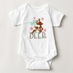 Oh Baby Deer - Cute Baby Holiday Design Baby Bodysuit - diy individual customized design unique ideas