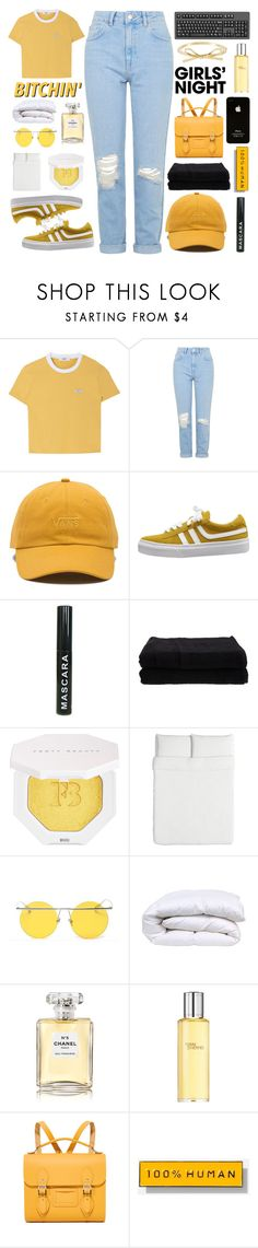 """pocket full of sunshine"" by nostalgicteen ❤ liked on Polyvore featuring Topshop, Vans, Home Source International, Puma, LMNT, Chanel, Hermès, The Cambridge Satchel Company, Everlane and contestentry"