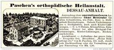 Original-Werbung/ Anzeige 1895 - DESSAU-ANHALT / PASCHEN´S ORTHOPÄDISCHE HEILANSTALT - ca. 100 x 40 mm