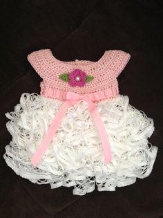 Crochet ruffled baby dress. Newborn