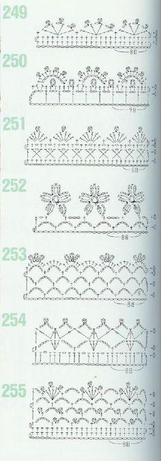 from 262 Patrones de crochet Crochet Lace Edging, Crochet Borders, Crochet Diagram, Crochet Stitches Patterns, Crochet Chart, Lace Patterns, Crochet Squares, Crochet Trim, Crochet Designs