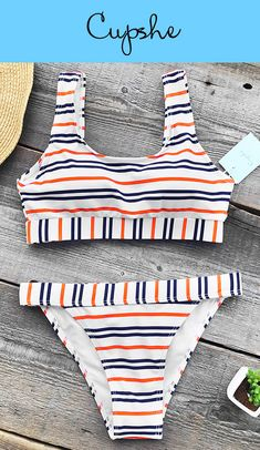 NEW ARRIVAL! This colourful striped style bikini set matches perfectly with best life ideas and feelings! Features U-neck & Removable padding bras. Free shipping & Check it out!