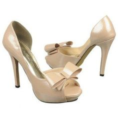 Johnathan Kayne: Patent, peep-toe heels with bow (champagne and black)