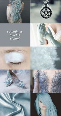 Aesthetic witch, quiet, violent, blue, witchcraft, snow, winter, shoes, gloves, blue hair;